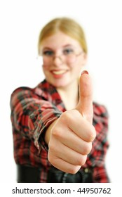 Beautiful woman giving thumbs up. Isolated on white background.