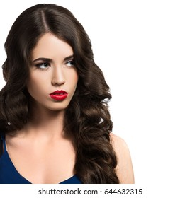 Beautiful woman, glamour portrait on bright background