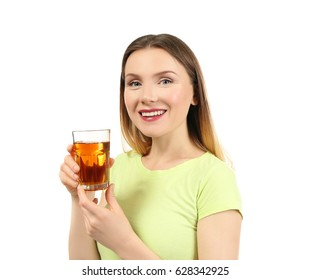 Beautiful woman with glass of fresh juice on white background