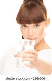 beautiful woman with glass of water over white