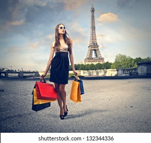 beautiful woman goes shopping in Paris