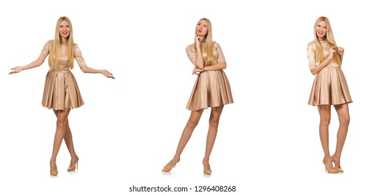 Beautiful woman in golden dress isolated on white