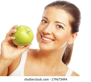 beautiful woman with green apple