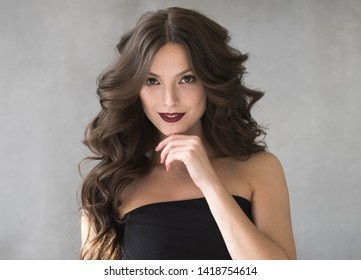 Beautiful woman hair lipstick color perfect brunette hairstyle