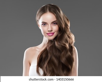 Beautiful woman hair long brunette healthy hairstyle beauty makeup