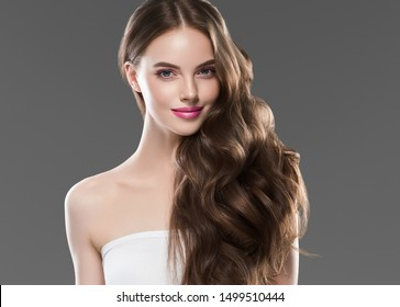 Beautiful woman hair long hairstyle young fashion happy model