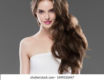 Beautiful woman hair long hairstyle young fashion happy model