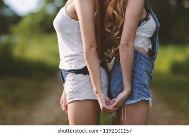 Beautiful woman hand holding hand Natural background