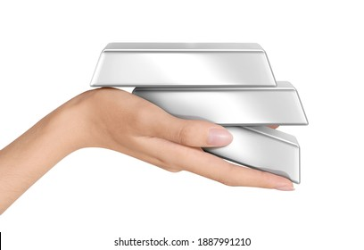 Beautiful Woman hand holding Platinum silver Gold ingots on white background with clipping path