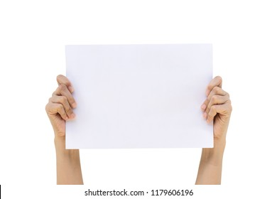 Beautiful woman hand show blank white paper isolated on white background ,Clipping path