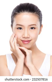 Beautiful woman with hand touch on face