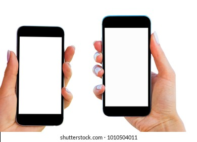 Beautiful Woman hands holding the smart phone with isolated white screen. Business workplace with copy space. Empty space for text. Isolated screen for mock up. Left and right hand