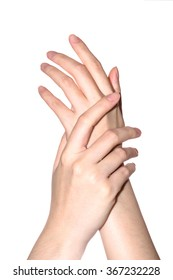 beautiful woman hands is on white backgroud
