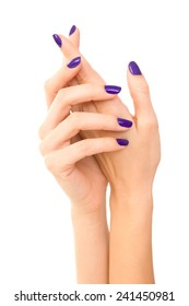 Beautiful Woman hands with purple manicure. Makeup, fashion, beauty, Hand care. white background