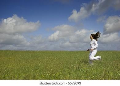 Beautiful woman having fun in the nature
