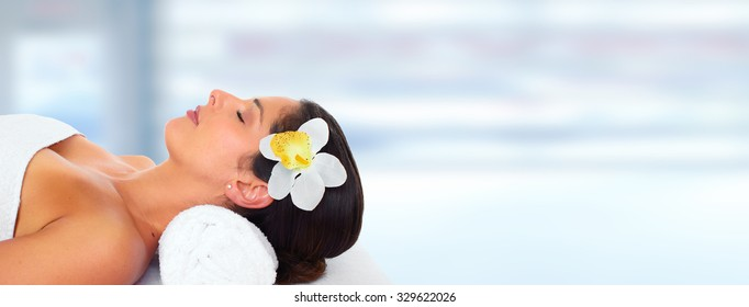Beautiful woman having massage. Relaxation and health background.