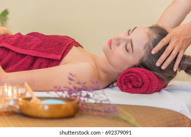Beautiful woman having massage in spa salon ,selective focus,relaxation concept.