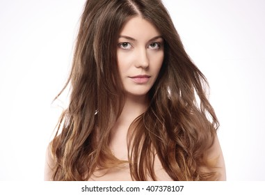Beautiful woman with healthy hair