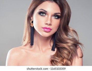 Beautiful woman healthy hairstyle beauty makeup female portrait