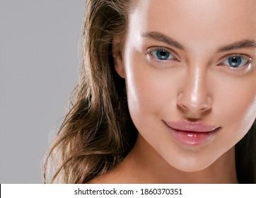 Beautiful woman healthy skin face beauty hair - Shutterstock ID 1860370351