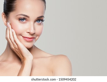 Beautiful woman healthy skin natural makeup beauty model concept