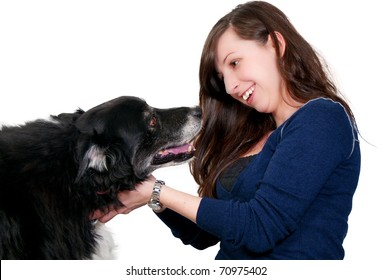 A beautiful woman with her full breed pedigree border collie