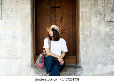 Beautiful woman hipster relaxing. Vacation concept