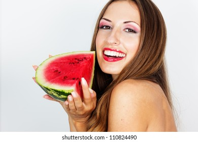 beautiful woman hold watermelon