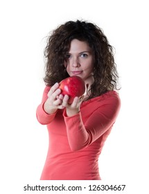 Beautiful woman holding an apple.