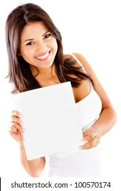 Beautiful woman holding a banner - isolated over a white background