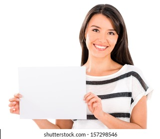 Beautiful woman holding a banner - isolated over white background