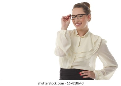 Beautiful woman holding her glasses smiling