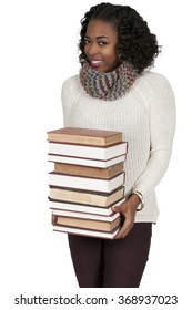 Beautiful woman holding a stack of library books