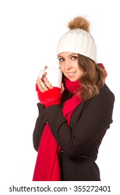 Beautiful woman holding white cup. Isolated over white.