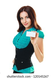 A beautiful woman holds out a business or credit card Isolated on white background