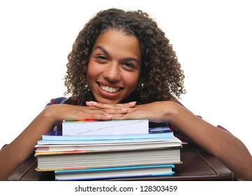 Beautiful woman with homework