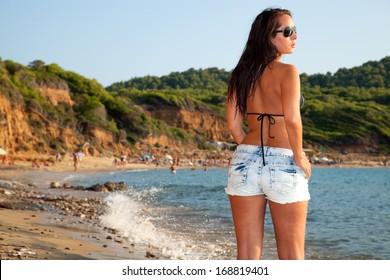 Beautiful woman in hot pants