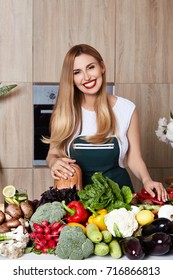 Beautiful woman housewife cook