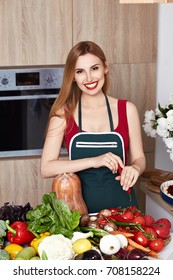 Beautiful woman housewife cook prepare in kitchen food,delicious, dietary diet recipe made from fresh natural organic vegetable fruit, flavor cheese spicy spice, wear style fashion dress apron smile.