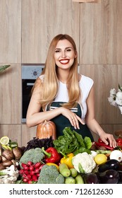 Beautiful woman housewife cook prepare kitchen culitaryl,delicious, tasty diet recipe made from fresh natural organic vegetable fruit, flavor cheese spicy spice, wear style fashion dress apron smile.