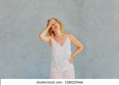 Beautiful woman is ill / woman has headache and stomach / copy space