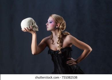 Beautiful woman image of Hamlet holding skull Shakespeare halloween