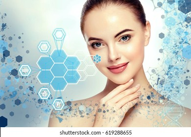 Beautiful woman info-graphic portrait with information and healthy concept