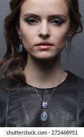 beautiful woman and jewelry
