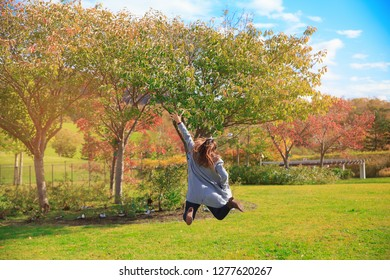 Beautiful woman jumping on the ground with red yellow tree in autumn season, taken from Hokkaido Japan. Successfull concepts.