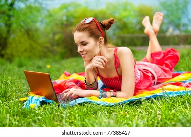 Beautiful woman with a laptop