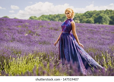 Beautiful woman in lavender fields, fashion theme