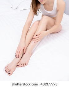 beautiful  woman legs care at home