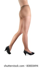 Beautiful woman legs isolated on white background