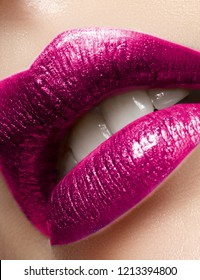 Beautiful Woman Lips with Fashion Glitter Metalic Lipstick Makeup. Christmas Or Valentine Day Make-Up. Beauty Lip Visage. Passionate kiss. Female Sexy Open Mouth